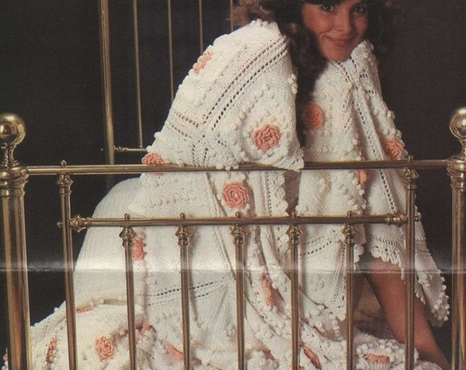 Bedspread Knitting Pattern with Crochet Flowers : Throw, Afghan, Blanket, Vintage Knitting Patterns for the Home . e-patterns PDF Download