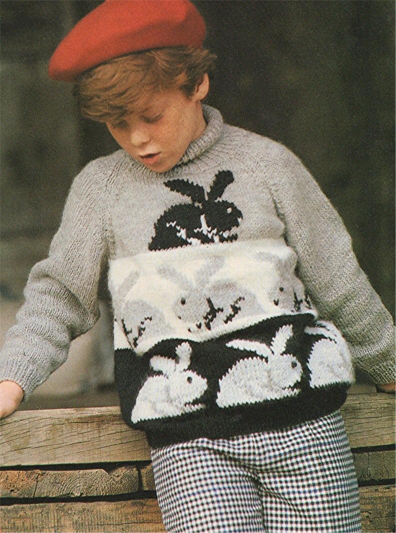 490b005d751 Childrens Rabbit Sweater Knitting Pattern PDF Boys and Girls