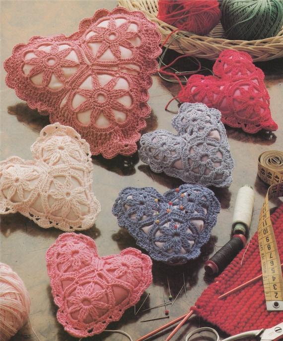 Herz Kissen Häkelmuster PDF: Herzen Deckchen Verzierungen   Etsy