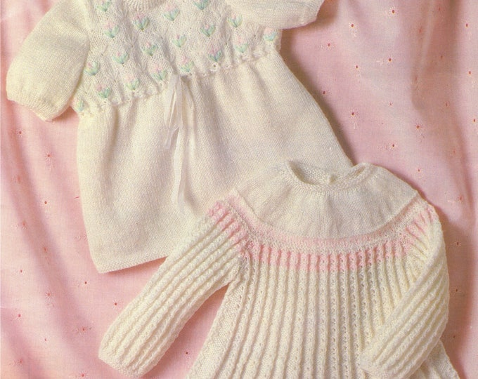 Baby Girls Dress and Angel Top Knitting Pattern PDF Babies 18, 19, 20 and 21 inch chest, Vintage Knitting Patterns for Babies, Download