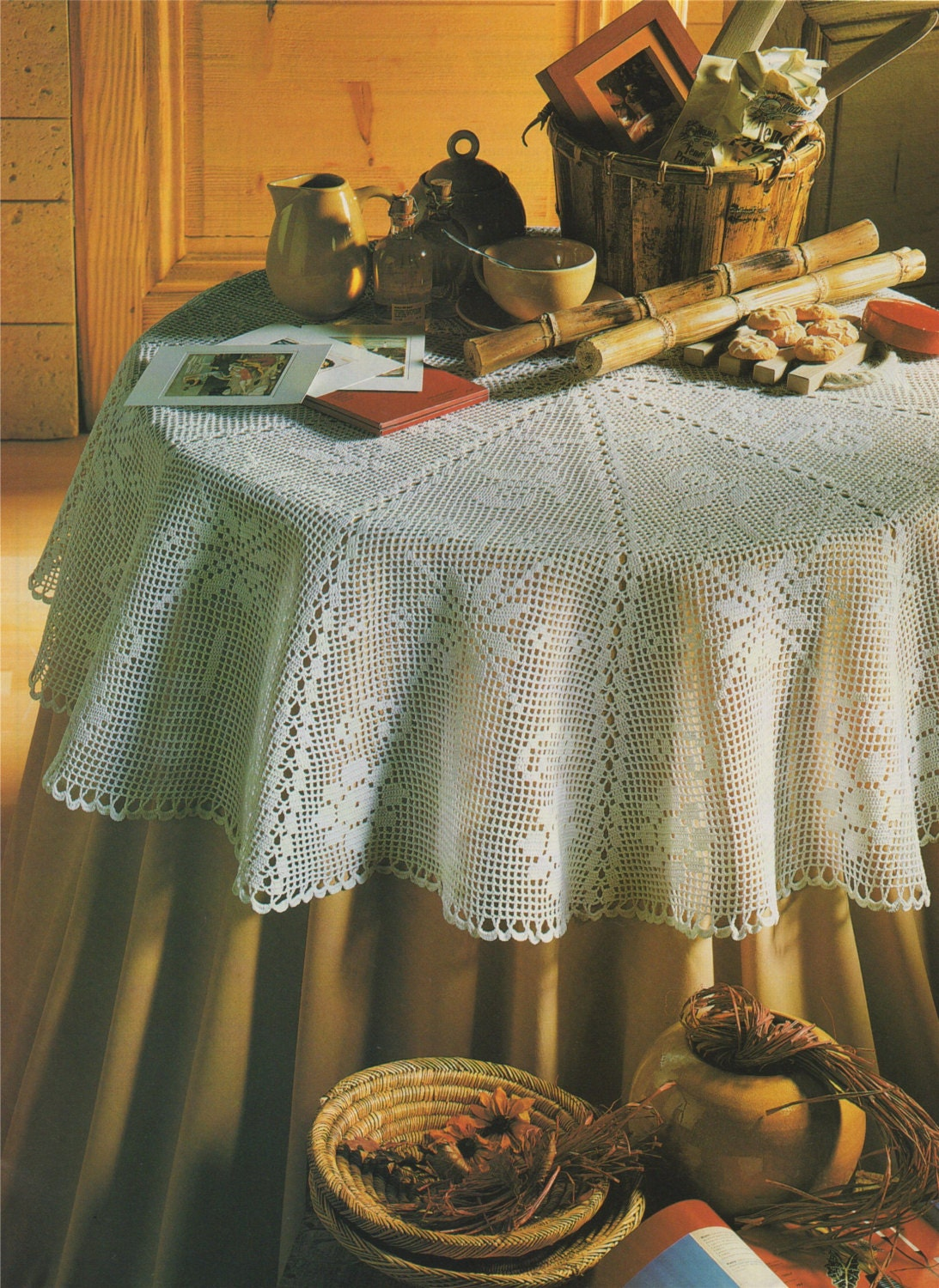 Round Tablecloth Crochet Pattern Pdf Circular Table Cloth Table