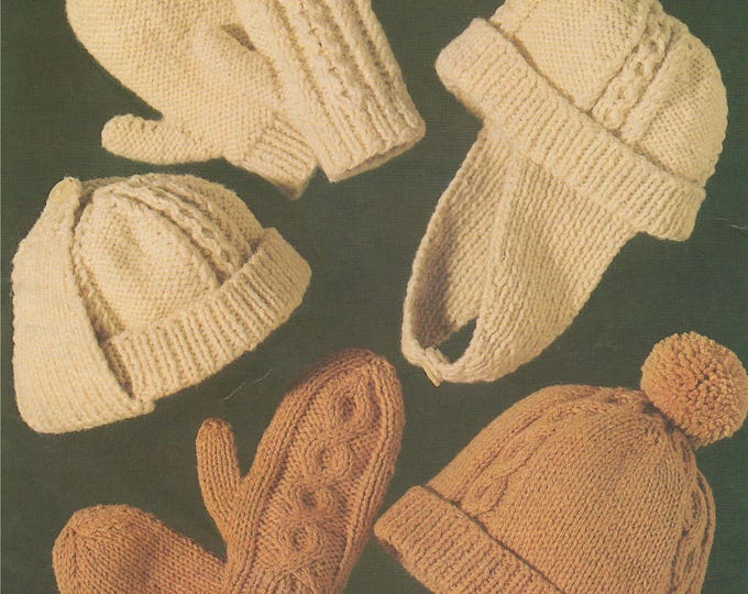 Childrens Aran Trapper Hat and Mittens Knitting Pattern PDF Boys and Girls 8 - 14 years, 2 Designs, Vintage Knitting Patterns for Children