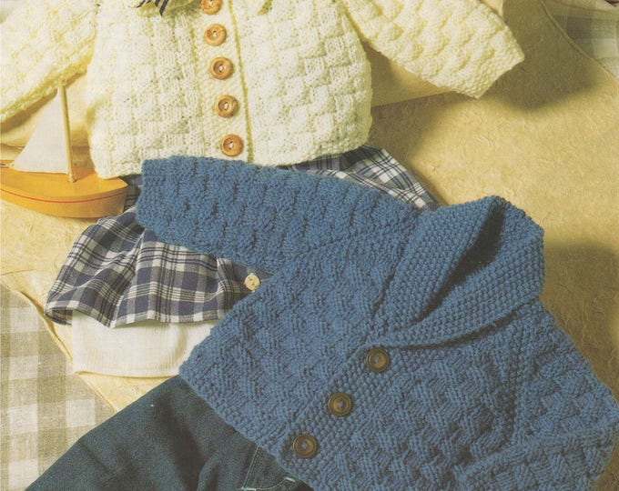 Cardigan Knitting Pattern PDF Baby and Toddlers Boys or Girls 16, 18, 20, 22, 24, 26 inch chest, Vintage Knitting Patterns for Babies