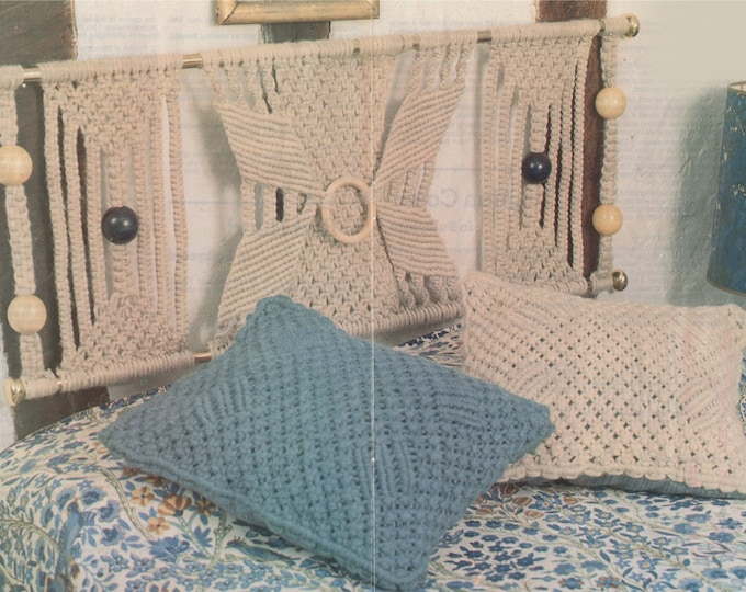 Headboard Wall Hanging and Cushion Macrame Pattern PDF using Bulkycord, Wall Art, Vintage Macrame Patterns for the Home, e-patterns Download