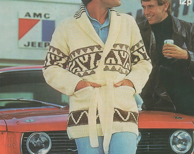 Mens Cardigan Starsky and Hutch Style Knitting Pattern 32 - 34, 36 - 38, 40 - 42 and 44 - 46 inch chest, Belted Jacket, Digital Download
