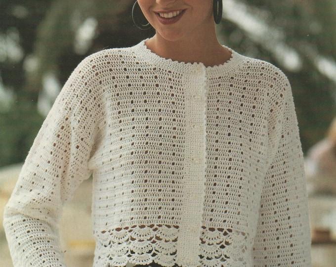 Womens Cardigan Crochet Pattern PDF Ladies 30 - 40 inch chest, Crop Jacket, Summer Season, Crochet Patterns for Women, e-pattern Download