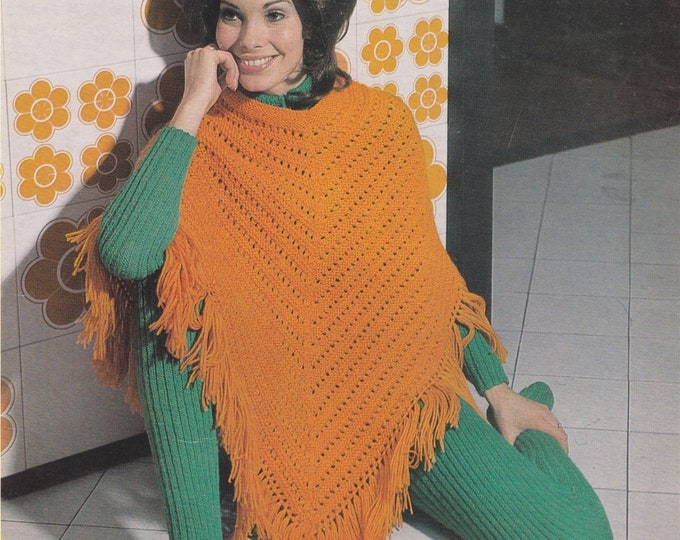Womens Cat Suit and Poncho Knitting Pattern PDF Ladies 32 - 36 inch bust, Knitted Poncho and Bodysuit, Vintage Knitting Patterns for Women