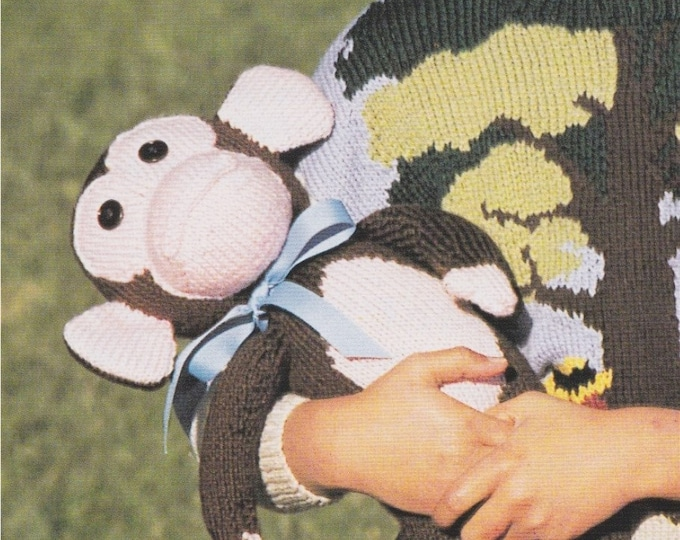 Soft Toy Chimpanzee Knitting Pattern PDF, 15 inch high Chimp Toy, DK 8 ply Yarn, Monkey, Mascot Toy, Vintage Toy Knit Patterns