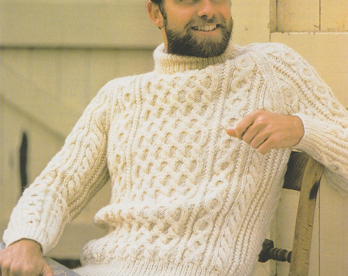 Mens Aran Sweater Knitting Pattern PDF Mans 32, 34, 36, 38, 40, 42, 44, 46 inch chest, Cable Stitch Jumper, Vintage Knitting Pattens for Men