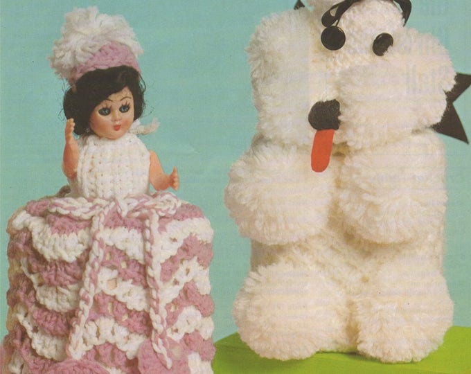 Bathroom Cover Ups Crinoline Doll Dress and Poodle Dog Cover Crochet and Knitting Pattern PDF Toilet Roll Covers, Home Patterns, Download