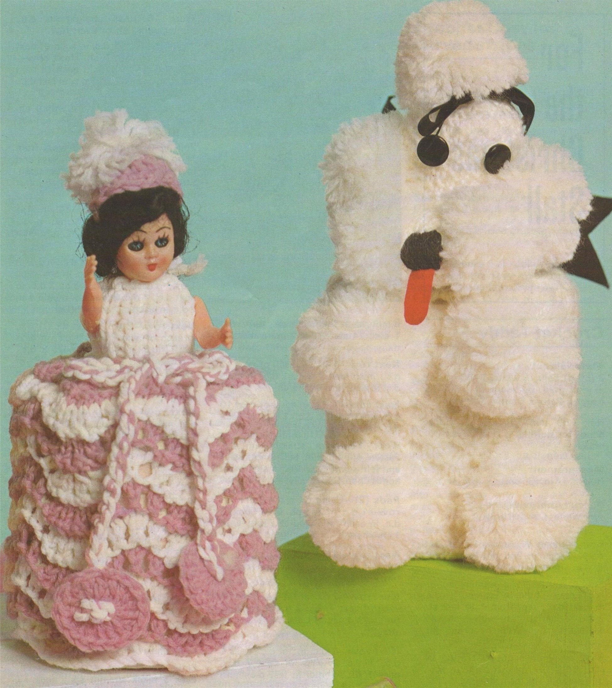Bathroom Cover Ups Crinoline Doll Dress and Poodle Dog Cover