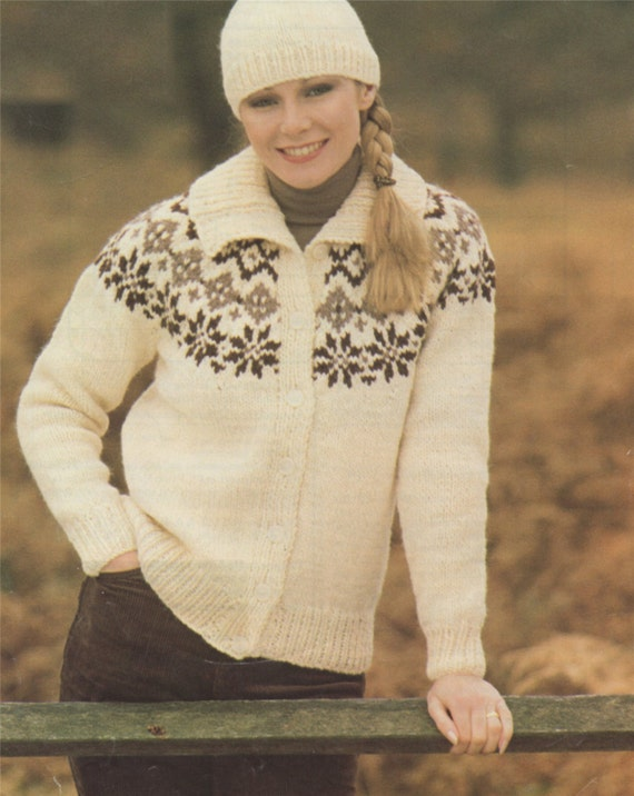 Ladies' Chunky Lacy Leaf-patterned Yoke Sweater and Hat Knitting Pattern