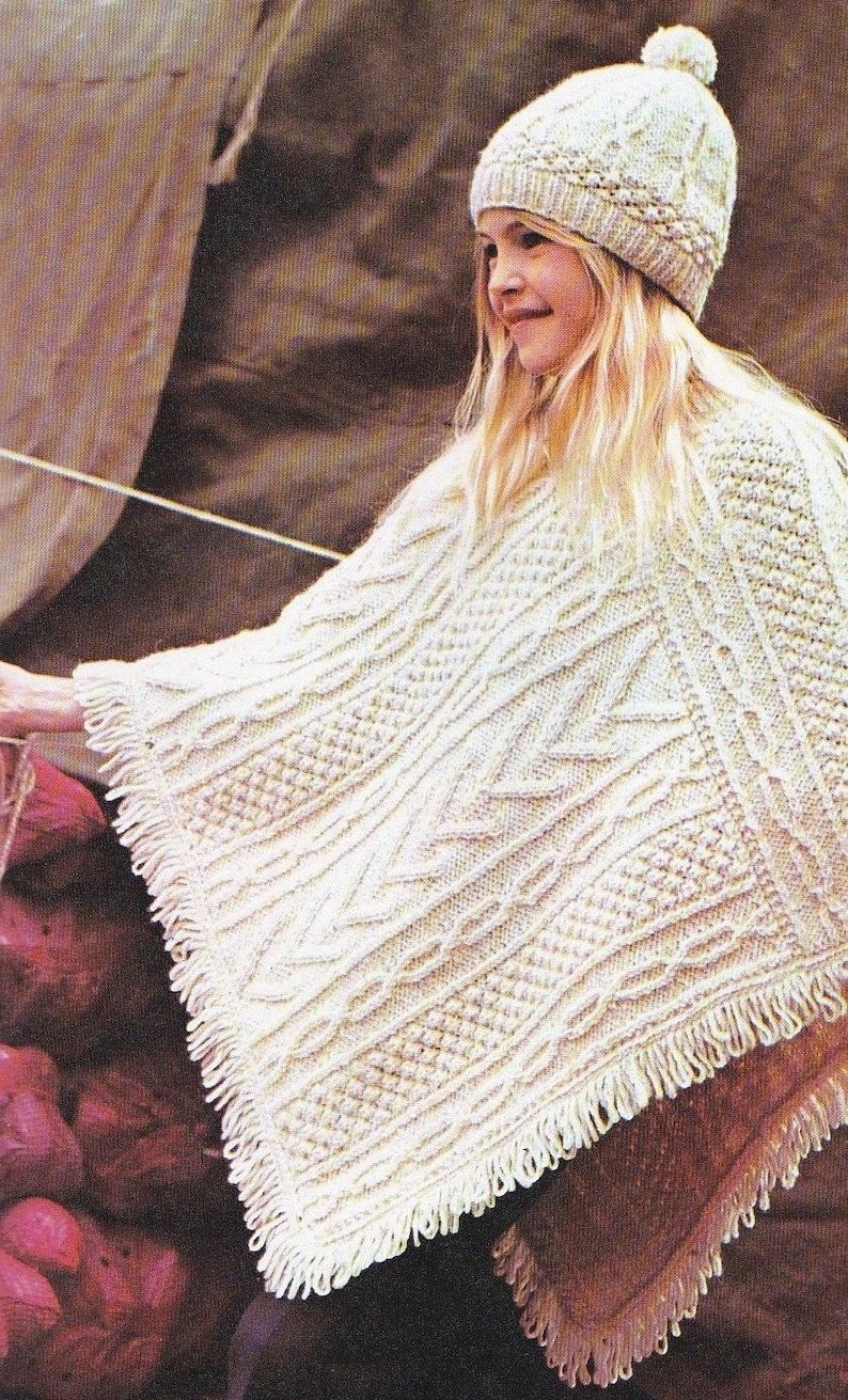 42aa1038b03 Girls Aran Poncho and Beret Hat Knitting Pattern PDF