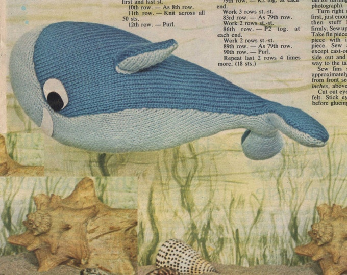 Toy Whale Knitting Pattern PDF Cuddly Toy, Knitted Soft Toy, Sea Life, Marine Life, Whale Mascot, Vintage Toy Knitting Patterns, Download