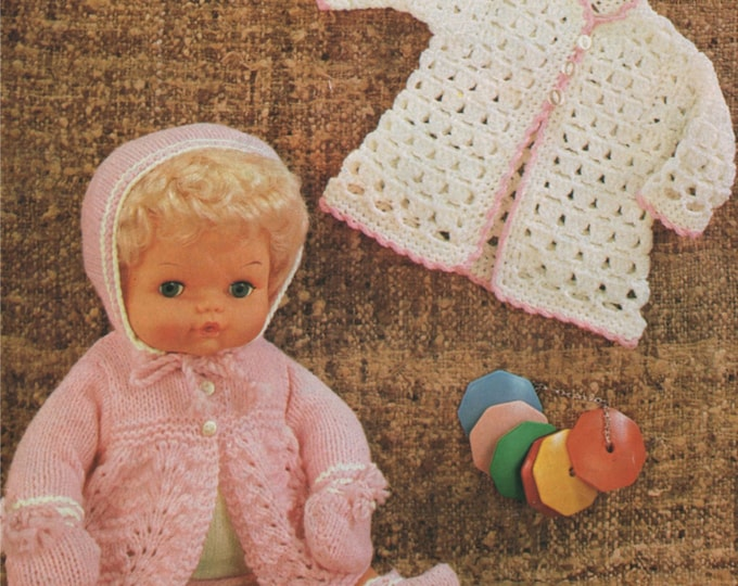 Dolls Clothes Knitting and Crochet Pattern PDF for 15 inch Doll, Tiny Tears, Dolls Outfit Pattern, Vintage Patterns for Dolls, Download