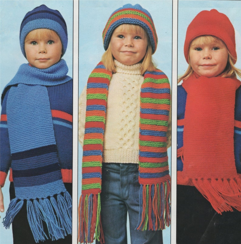 Childrens Hat And Scarf Knitting Pattern Pdf Boys Or Girls Etsy