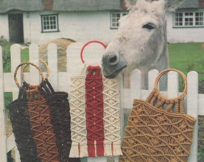 Shopper Bag Macrame Pattern PDF, Eco Go Green Shopping Bag, Large Carrier Bag, String Carry Bag, Vintage Retro, e-patterns Download