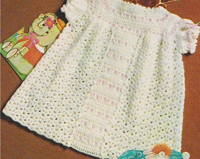 Baby Girls Dress Crochet Pattern PDF Babies 18 inch chest, 3 ply Yarn, Vintage Crochet Patterns for Baby Girls