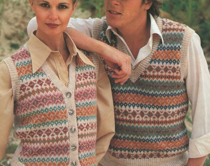 Fair Isle Pullover and Waistcoat Knitting Pattern PDF Womens or Mens 32, 34, 36, 38, 40, 42 inch chest, Vintage Knitting Patterns for Family