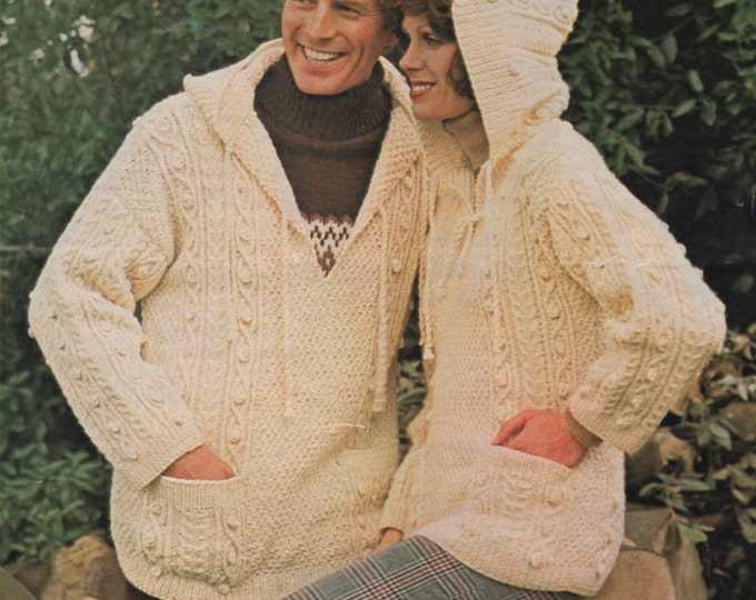 Aran Hooded Sweater Knitting Pattern PDF Womens and Mens 34, 36, 38, 40, 42 and 44 inch chest, Hoodie Jumper, Vintage Knitting Patterns