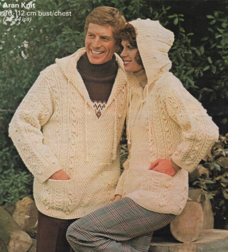 f6925820d Aran Hooded Sweater Knitting Pattern PDF Womens and Mens 34