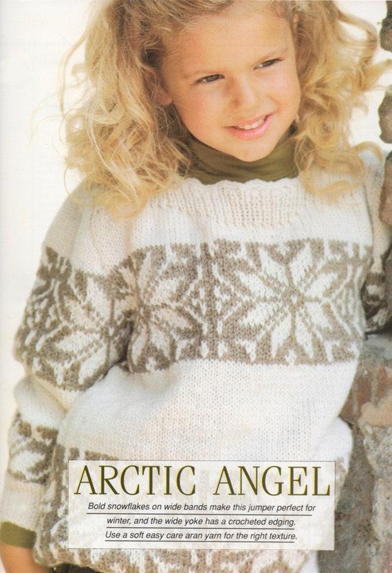 Girls Aran Fair Isle Snowflake Sweater Knitting Pattern PDF | Etsy
