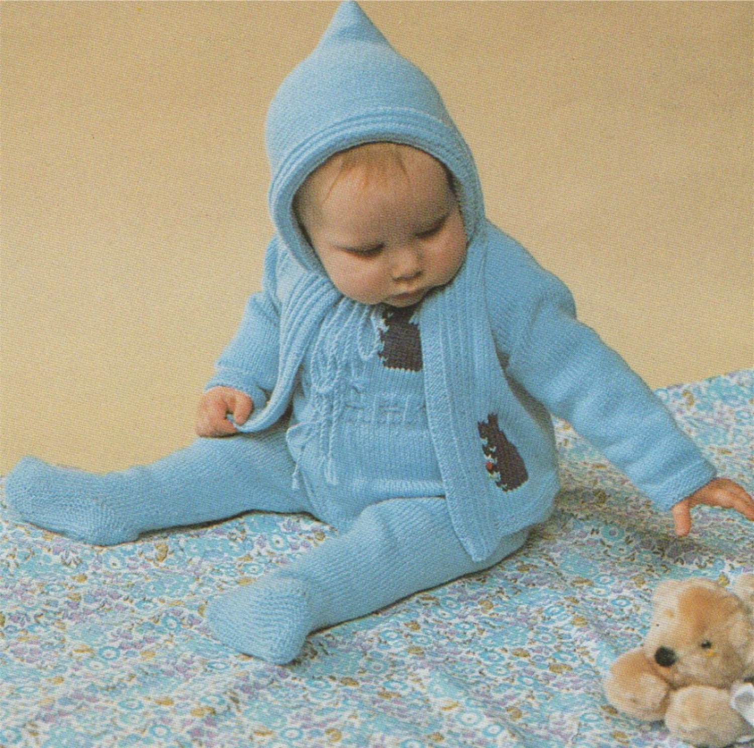 ab23b8377437 Babys All-in-one Suit and Hooded Jacket Knitting Pattern   Rabbit ...