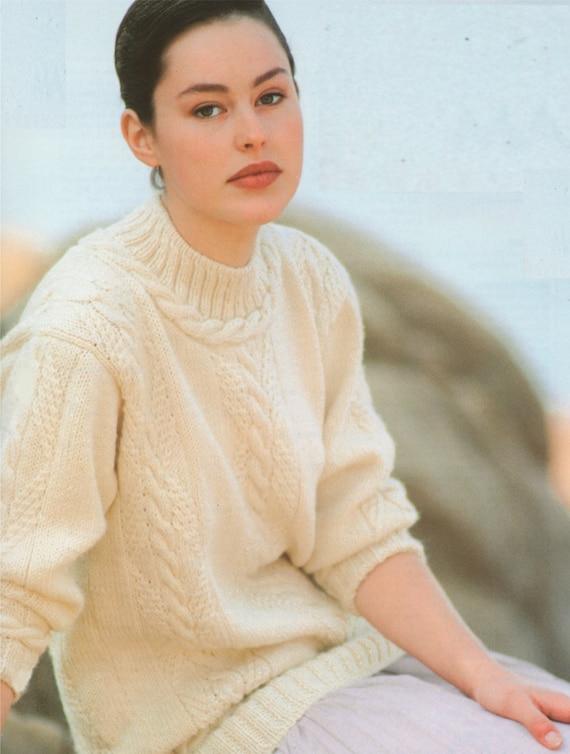 Womens Aran Sweater Knitting Pattern Pdf Ladies 32 34 36 Etsy
