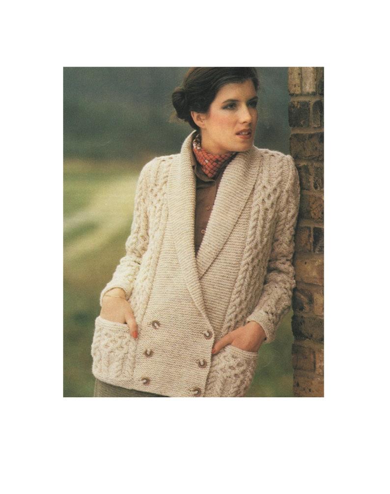5f5108336 Womens Aran Jacket Knitting Pattern PDF Ladies 32 34 36 38