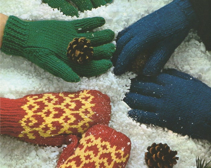 Girls Gloves 8 - 13 years and Fair Isle Mittens 2 - 7 years Knitting Pattern PDF, Winter Warmers, Vintage Knitting Patterns for Children