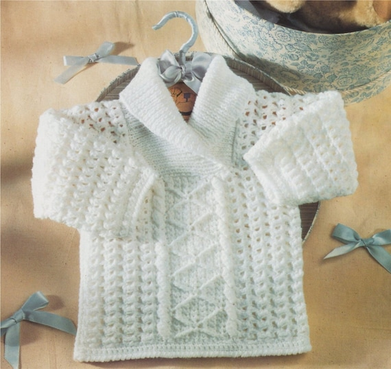 3bdc0d583 Babies Sweater Crochet Pattern PDF with Knitted Collar Baby