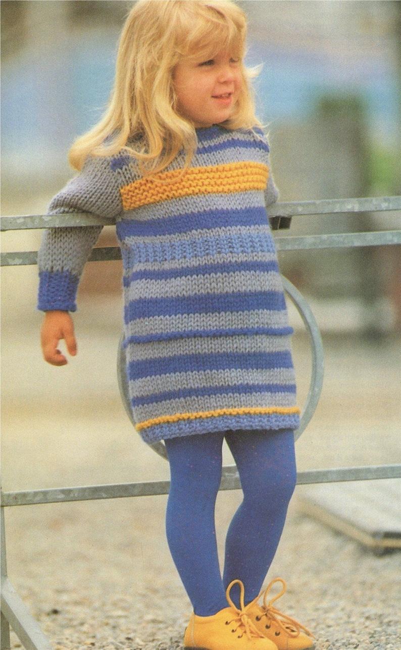 03ca1529a88 Sweater Dress Knitting Pattern PDF Girls 22 23 24 25 and
