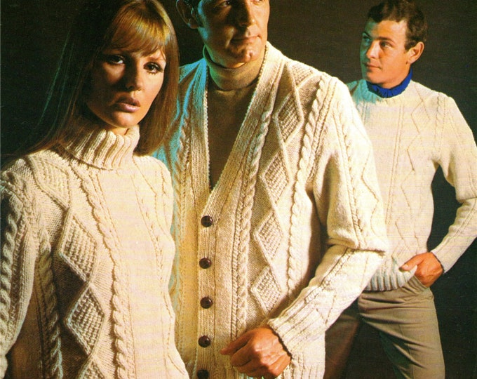 Aran Cardigan and Sweater Knitting Pattern PDF Ladies and Mens 36, 38, 40, 42, 44 and 46 inch chest, Cable Jumper, Aran Knitting Patterns