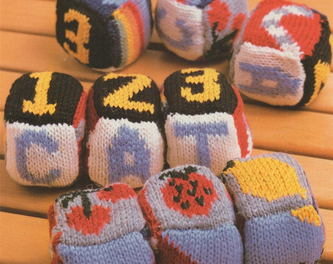 Play Block Cubes Knitting Pattern PDF Childrens Soft Toy, Learning Play Toy Picture Blocks, Knitted Soft Toys, Vintage Toy Knitting Patterns