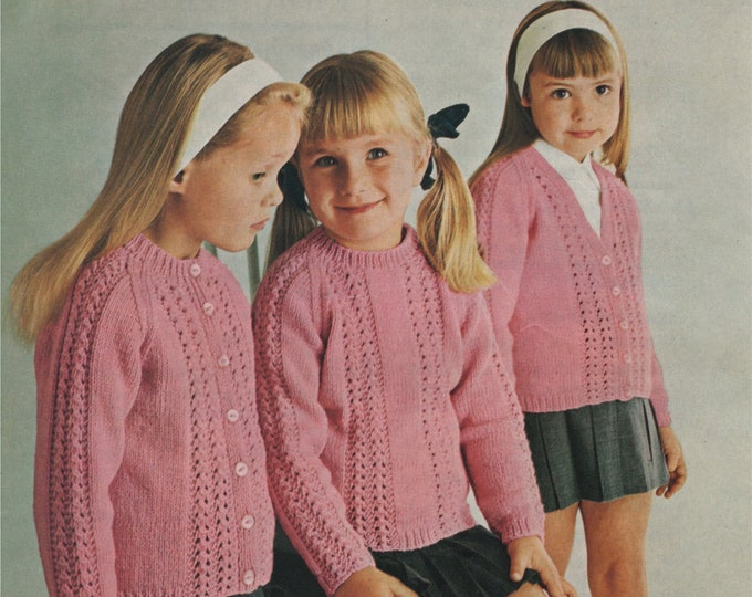 Girls Cardigan and Sweater Knitting Pattern PDF Girls 22, 24, 26, 28, 30 and 32 inch chest, Patterned Jumper, Round or V Neck Cardigan, pdf