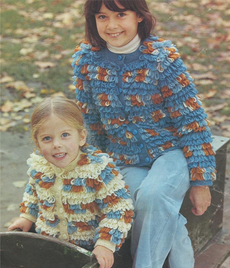 6a7b7aa7422c Girls Loopy Jacket Knitting Pattern PDF Childrens 20 27 inch