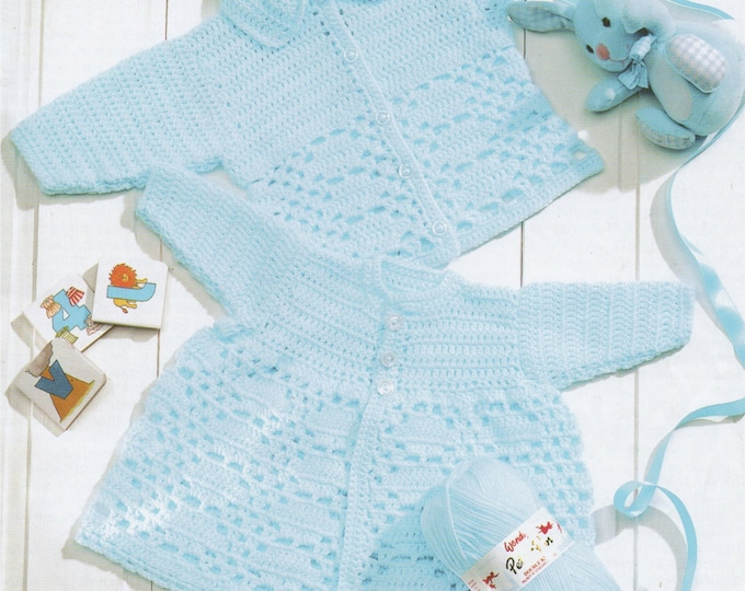 Baby / Toddlers Matinee Coat and Cardigan Crochet Pattern PDF Premature Babies - 2 years, Boys or Girls, DK Yarn, Instant Digital Download
