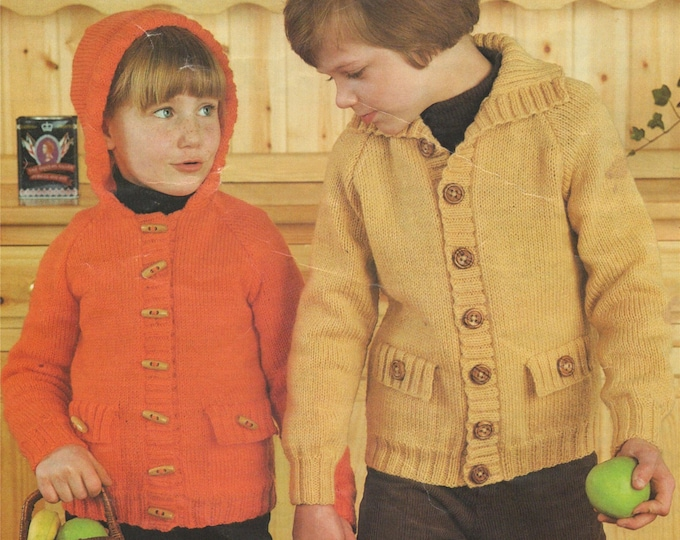 Hooded Jacket Knitting Pattern PDF Boys or Girls 22, 24, 26, 28, 30 and 32 inch chest, Toddlers Cardigan, Knitting Patterns for Children