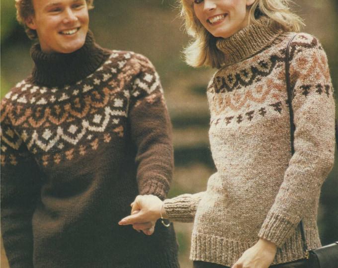 Fair Isle Yoke Sweater Knitting Pattern PDF Womens or Mens 28 - 30, 32 - 34, 36 - 38 and 40 - 42 inch chest, Fair Isle Jumper, Chunky Yarn