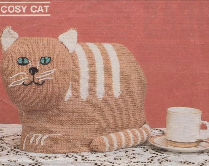 Cat Cosy Knitting Pattern PDF Tea Pot Cosy, Tea Cosy Novelty Gift Pattern, DK 8 ply Yarn, Vintage Knitting Patterns, epattern Download