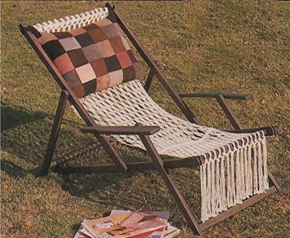 Deckchair Cover Macrame Pattern Pdf Deck Chair Garden Lawn