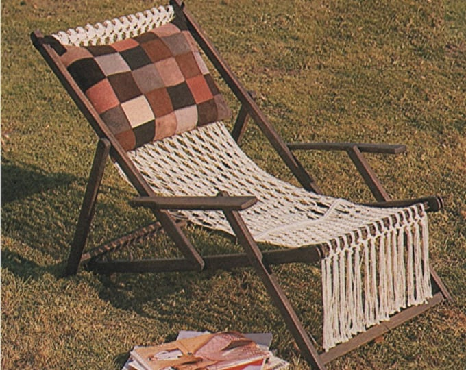 Deckchair Cover Macrame Pattern PDF Deck Chair, Garden Lawn Chair, Recycle and Refurbishment of Patio Furniture, Vintage Macrame Patterns
