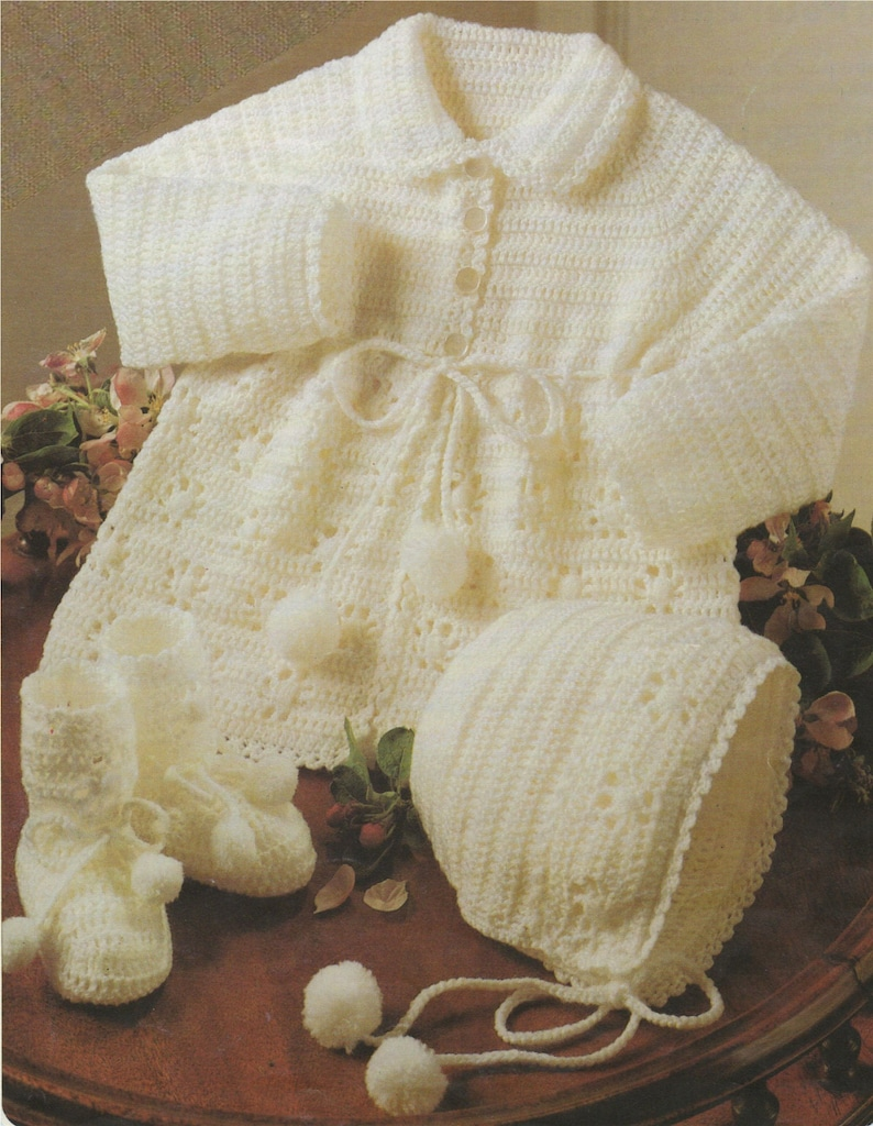 517320d2e1e8 Babies Matinee Coat Bonnet and Bootees Crochet Pattern PDF