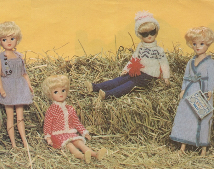 Dolls Clothes Knitting Pattern PDF Hand and Machine Knitting Pattern, 4 Ply Yarn, 11  - 12 inch doll, Sindy, Barbie, Fashion Doll, Download