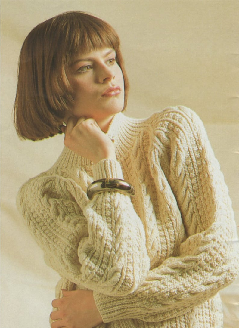 ab6d604d86cd Womens Aran Jacket Knitting Pattern PDF Ladies 30 32 34 36
