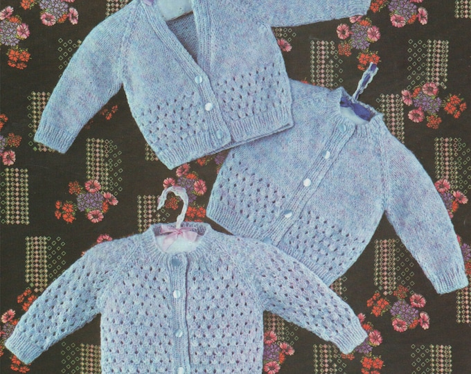 Baby Cardigan Knitting Pattern PDF Boys and Girls 18, 19 and 20 inch chest, Vintage Knitting Patterns for Babies