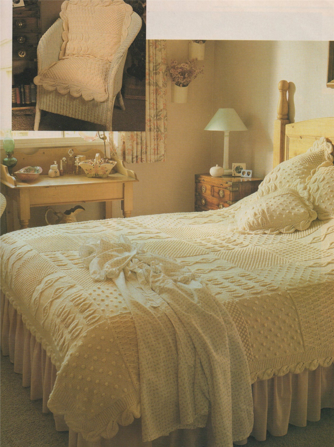 Aran Bedspread And Cushion Knitting Pattern Pdf Throw Bed Cover