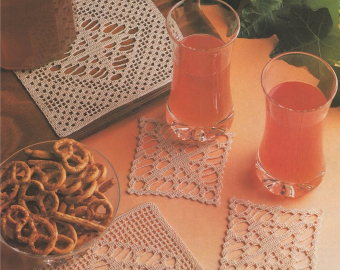 Coasters Crochet Pattern PDF Drinks Coaster, Table Mat, Glass and Bottle Crocheted Coasters, Vintage Crochet Patterns for the Home, Download