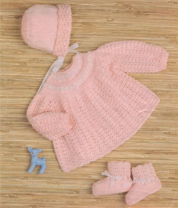 53b5e44121b4 Baby Girls Angel Top Bonnet and Bootees Knitting Pattern PDF