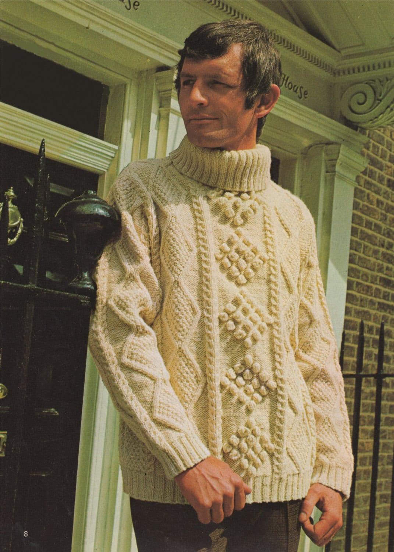 90e16b9811753 Aran Sweater Knitting Pattern PDF Mens 40 42 and 44 inch .
